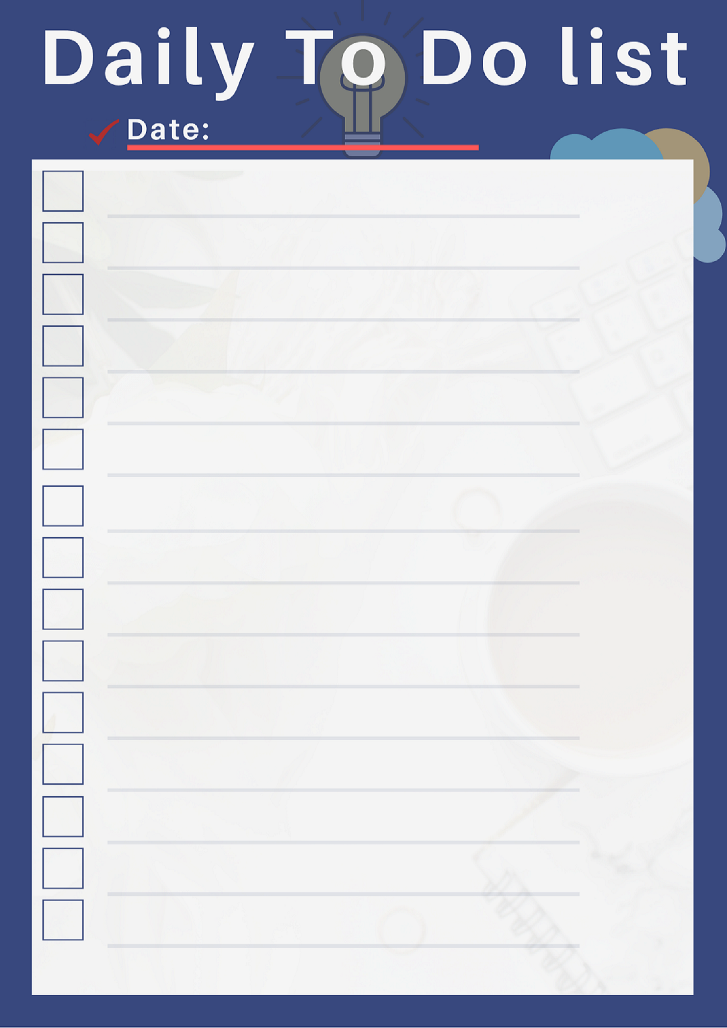 Fillable Daily ToDo List