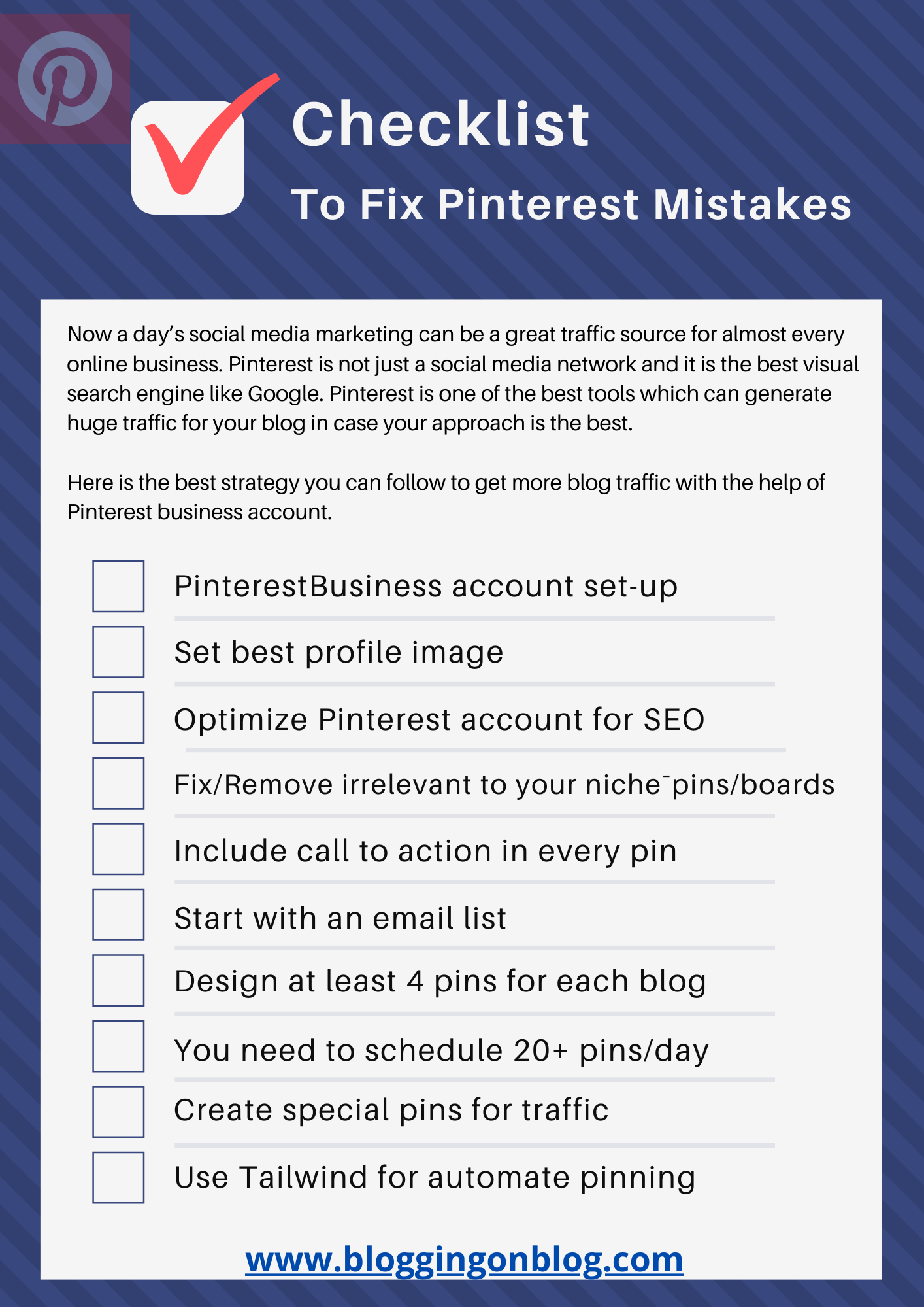 Checklist To Fix Pinterest Mistakes For Huge Blog Traffic
